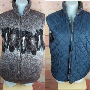 Vintage reversible horse fleece vest